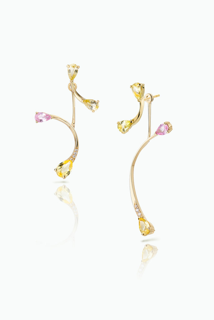 Lemon Flare Studs with Rose More Jackets. Graceful flow of line, handcrafted in 18 Carat yellow gold with pear shaped Sapphire and Pave Set Brilliant Cut Diamonds. Ideal for those who like to mix and match their earrings. Bought as a single or a pair.