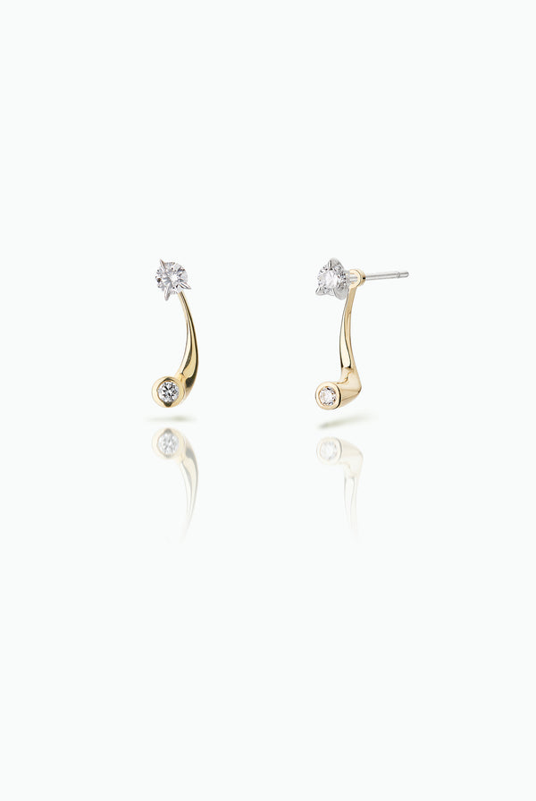 Blinker Jackets with Bombette Studs. Handcrafted in 18 Carat yellow and white gold. Subtle yet statement modern design. Versatile, in that they can be worn together or separately. For those who like to mix and match their earrings. Bought as a single or a pair.