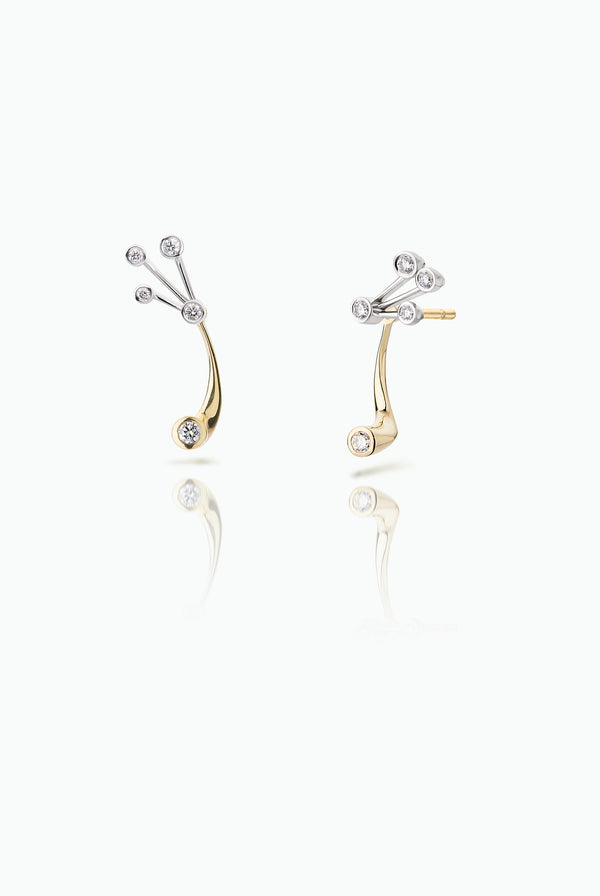 Blinker Jackets with Hummer Studs. Handcrafted in 18 Carat yellow and white gold. Elegant yet statement. Versatile, in that they can be worn together or separately. For those who like to mix and match their earrings. Bought as a single or a pair.