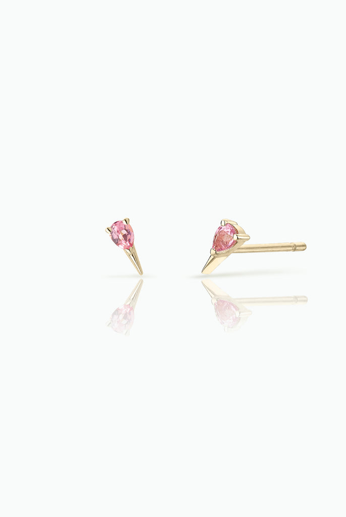Pink Sapphire Spark Studs; 18 Carat Yellow Gold. Easy to wear either as a single stud or double. Perfect for those who like  to stack their earrings.