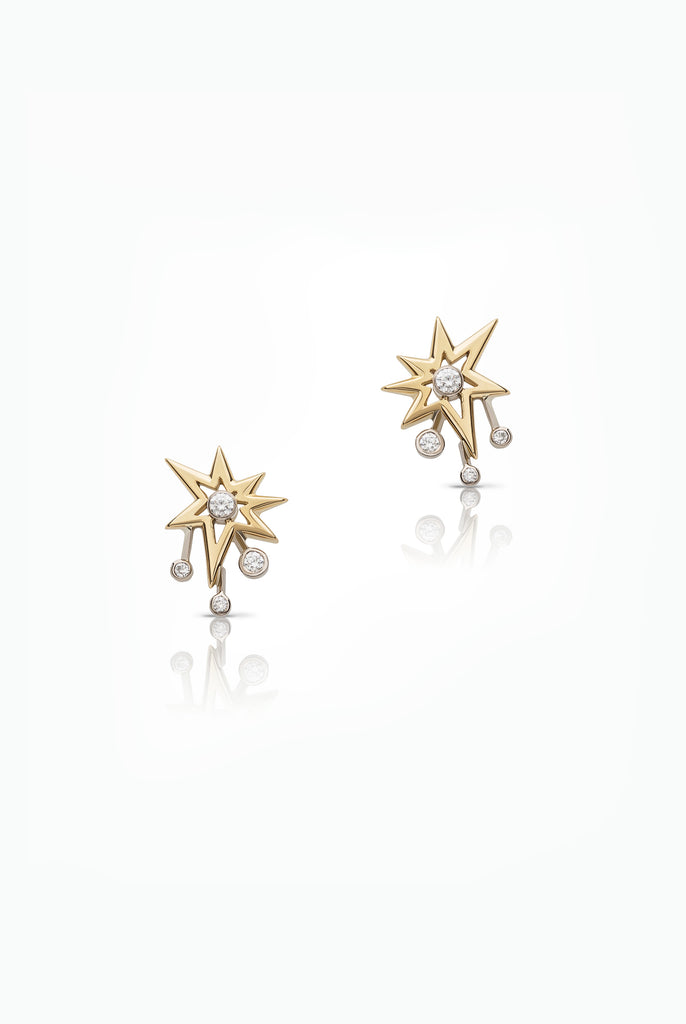 An Easy to Wear Statement Stud Earring. Handcrafted in 18 Carat White and Yellow Gold and Set with Brilliant Cut Diamonds. They come to life when worn, the diamond sparks catching the light as you move.