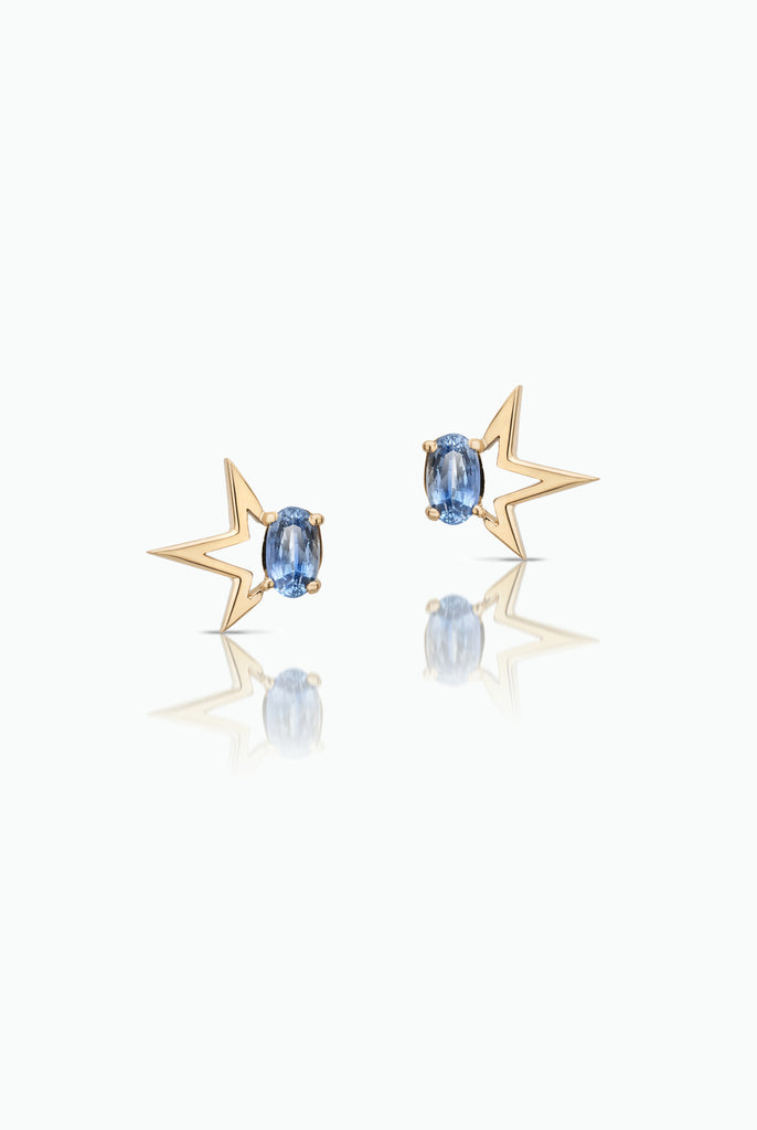 Modern, Handcrafted Stud Earrings made with 18 Carat Yellow Gold featuring Oval Blue Fancy Sapphires.