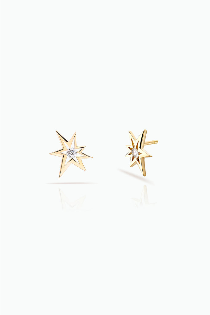 Bang studs; 18 Carat Yellow gold with diamonds. Modern design for everyday use. Bought as a single or a double