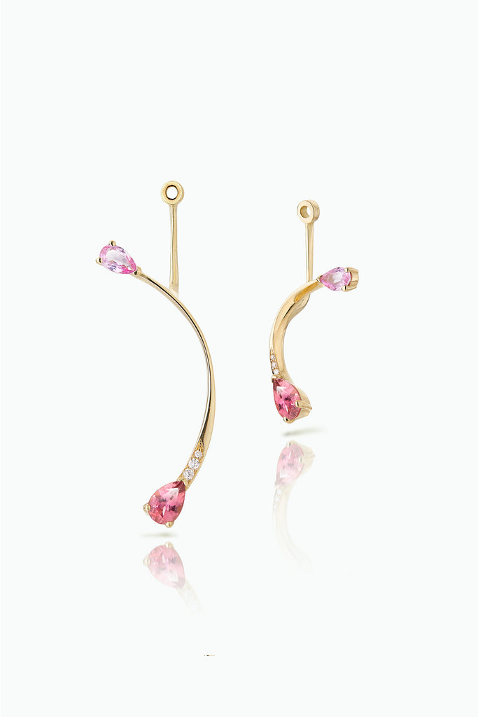 Cherry Flare Jackets. Graceful flow of line, handcrafted in 18 Carat yellow gold with pear shaped Sapphire and Pave Set Brilliant Cut Diamonds. Ideal for those who like to mix and match their earrings. Bought as a single or a pair.