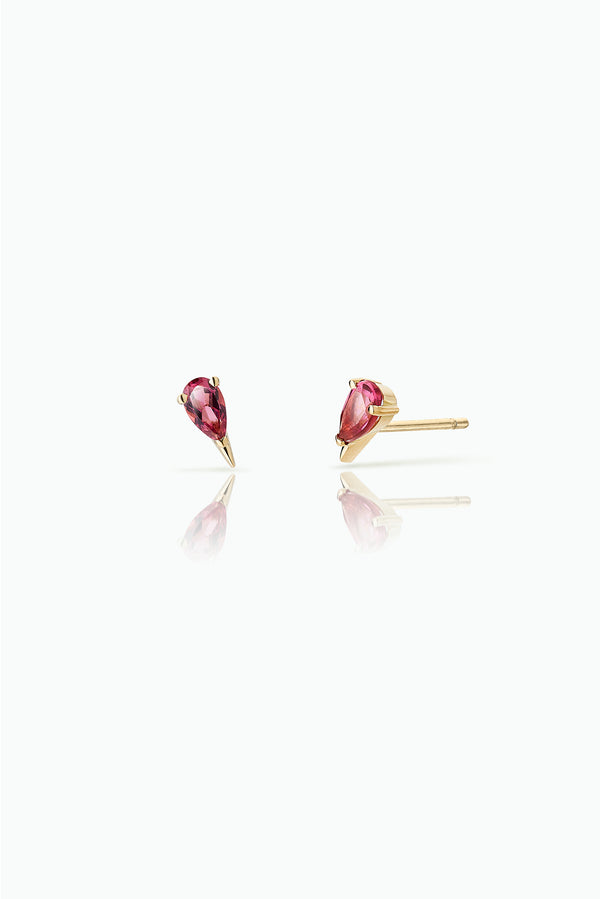 Cherry Spark Studs; 18 Carat Yellow Gold with pink Tourmalines. Easy to wear either as a single stud or double. Perfect for those who like to stack their earrings.