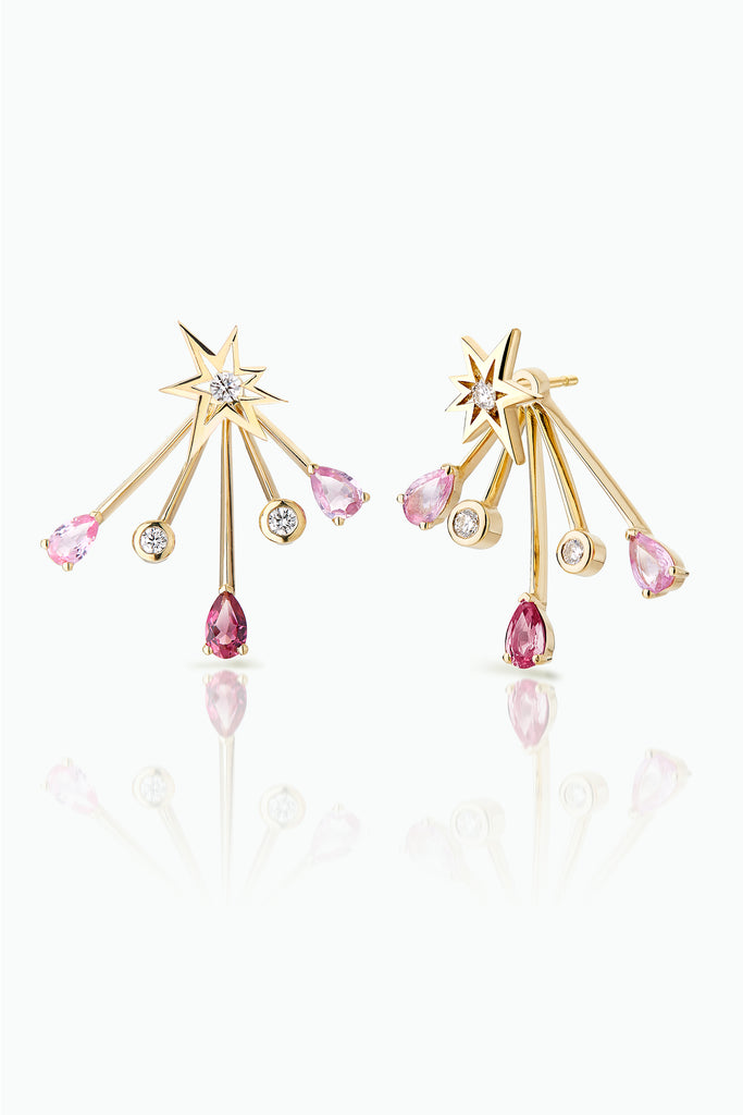 Cherry Trailblazer Jackets with Bang Studs..; 18 Carat Yellow Gold with, Diamonds Pink Sapphires and Tourmalines. Versatile in that they can be worn together or independently. Bought as a single or pair.