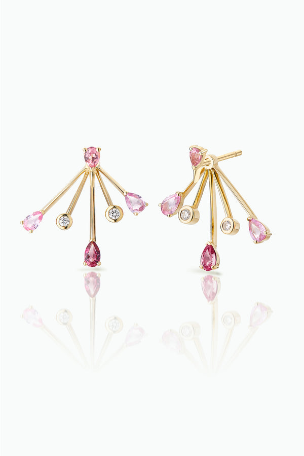 Cherry Trailblazer Jackets with Pink Sapphire Spark Studs.; 18 Carat Yellow Gold with, Diamonds Pink Sapphires and Tourmalines. Versatile in that they can be worn together or independently. Bought as a single or pair.