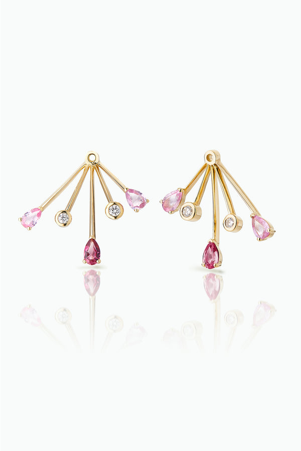 Cherry Trailblazer Jackets; 18 Carat Yellow Gold with, Diamonds Pink Sapphires and Tourmalines. A statement earring jacket to dress up any stud. Bought as a single or pair.