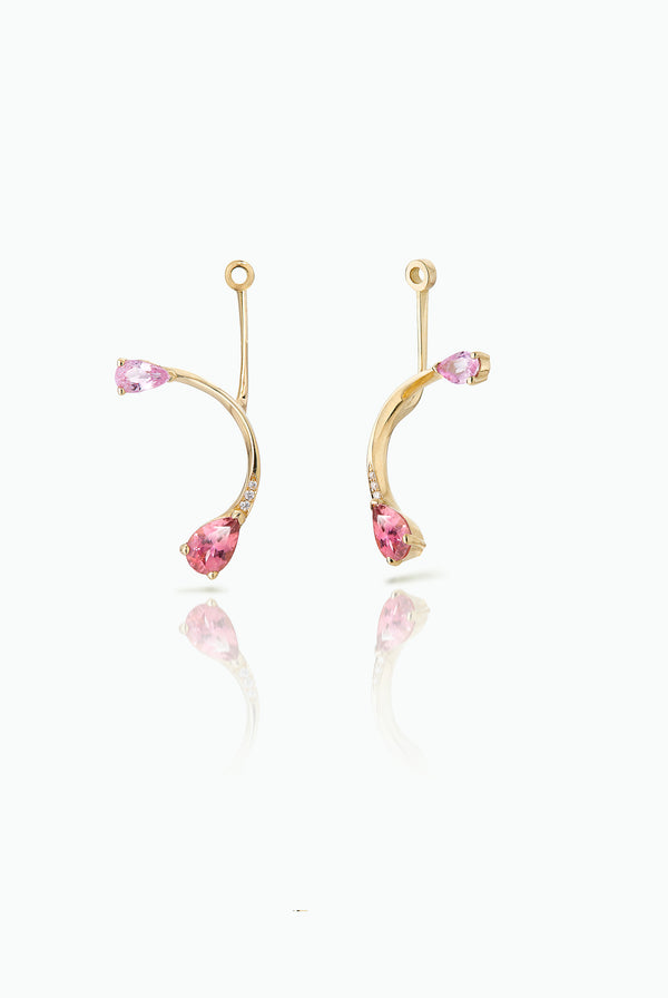 Short Cherry Flare Jackets. Graceful flow of line, handcrafted in 18 Carat yellow gold with pear shaped Sapphire and Pave Set Brilliant Cut Diamonds. Ideal for those who like to mix and match their earrings. Bought as a single or a pair.