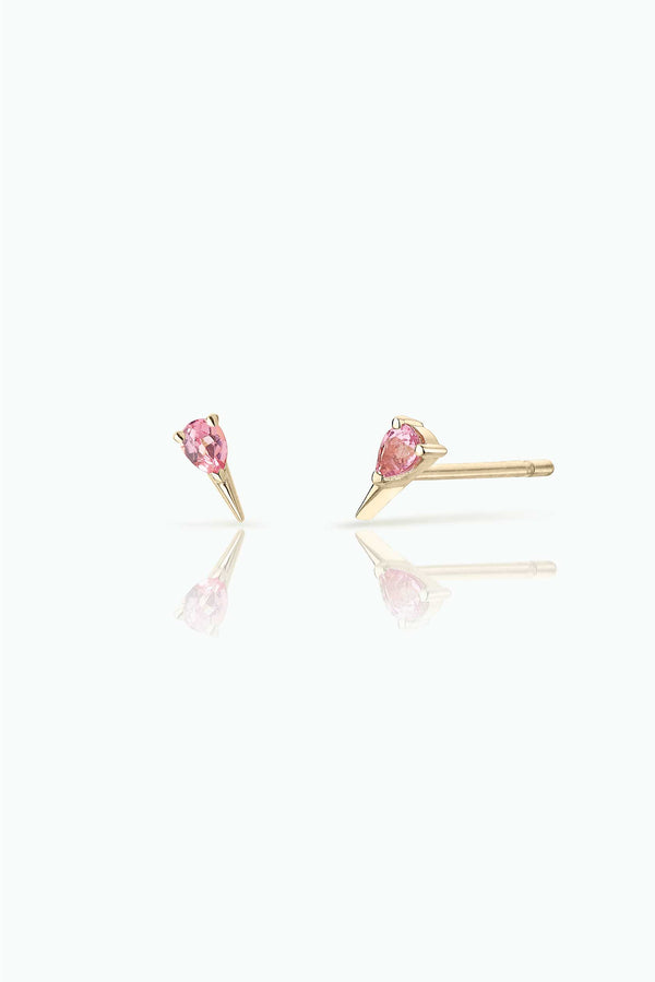 Pink Sapphire Studs; 18 Carat Yellow Gold. Easy to wear either as a single stud or double. Perfect for those who like to stack their earrings.