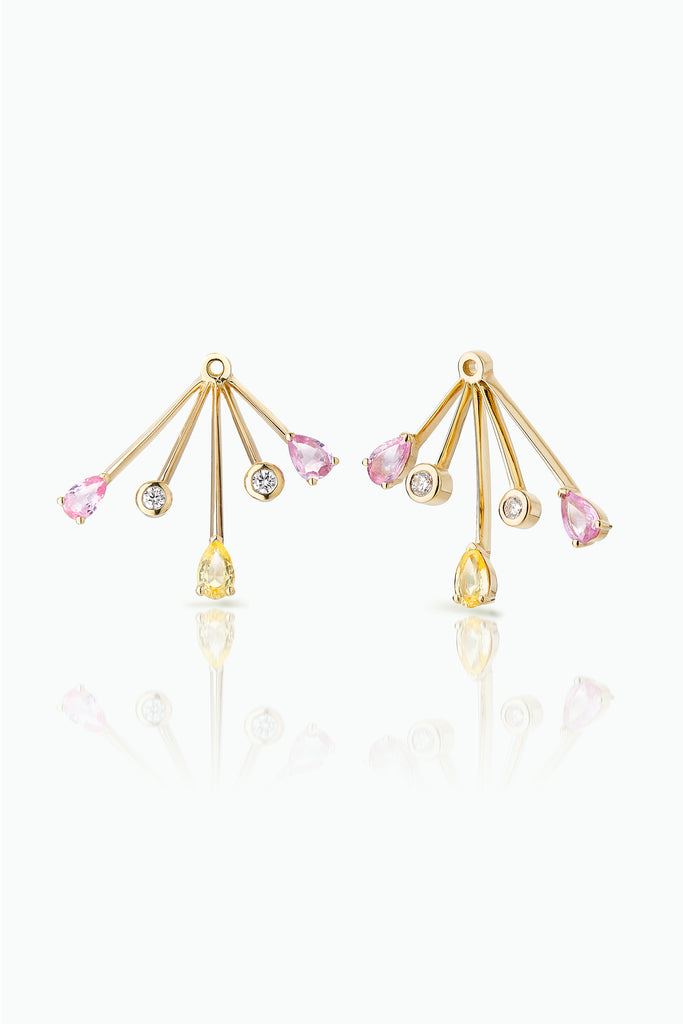 Rose-More Trailblazer Jackets; 18 Carat Yellow Gold with, Diamonds Pink Sapphires and Tourmalines. A statement earring jacket to dress up any stud. Bought as a single or pair.