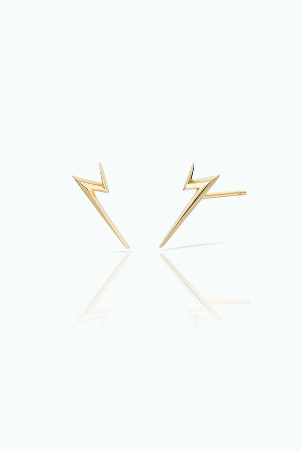 Thunderflash Studs. Handcrafted in 18 Carat yellow gold. Statements studs, that can be worn day-in and day-out. Bought as a single or a pair.