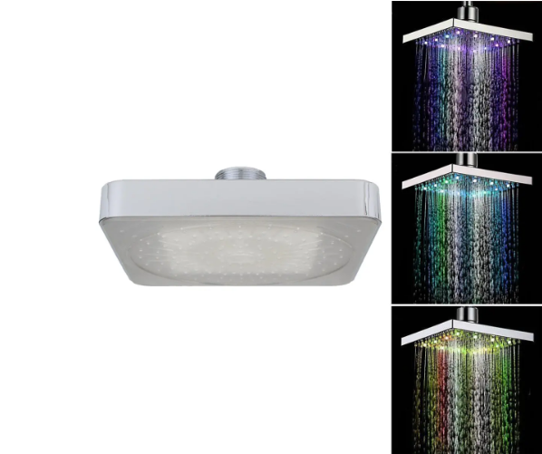 Adjustable Chrome Water Temperature Controlled Multi-Colour LED Shower Head