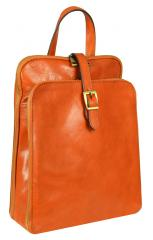 Clarissa - Women's Brown and Orange Genuine Calfskin Leather Backpack