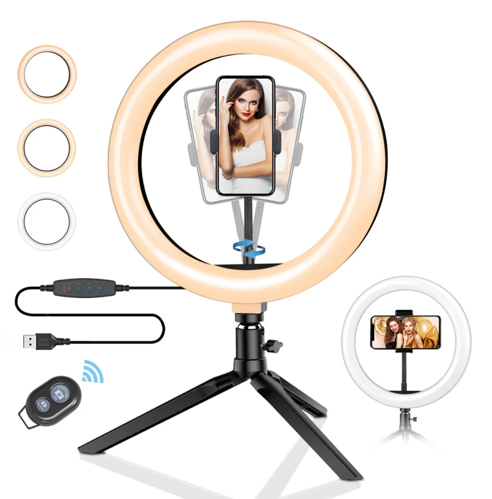 BlitzWolf® 10inch Dimmable LED Ring Light Tripod Stand USB Plug with Phone Clip