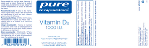 Pure Encapsulations Vitamin D3 1000 IU 120 Capsules