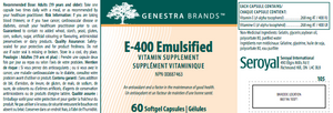 Genestra E-400 Emulsified 60 Softgels