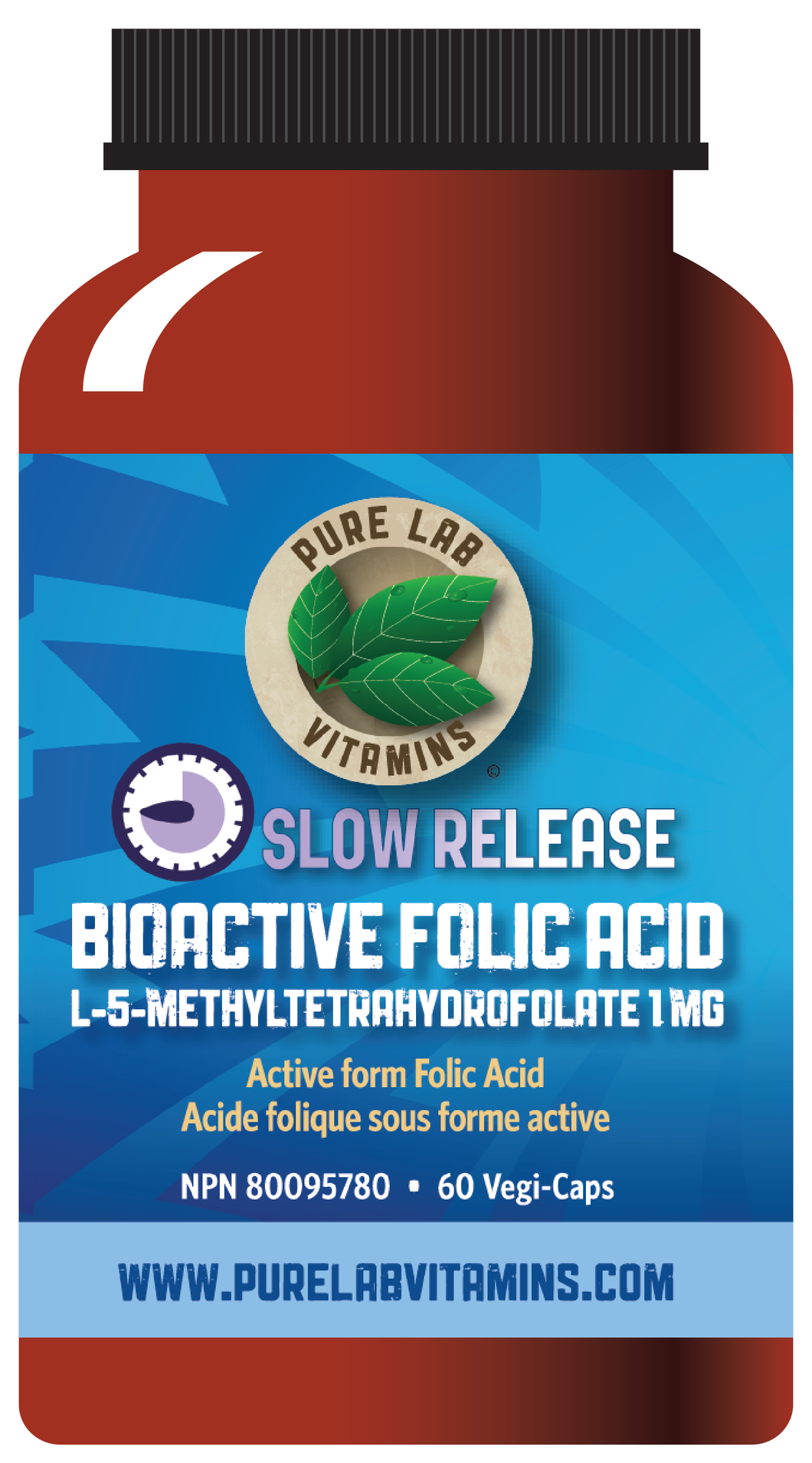 Pure Lab Bioactive Folic Acid 1mg Slow Release 60 Capsules