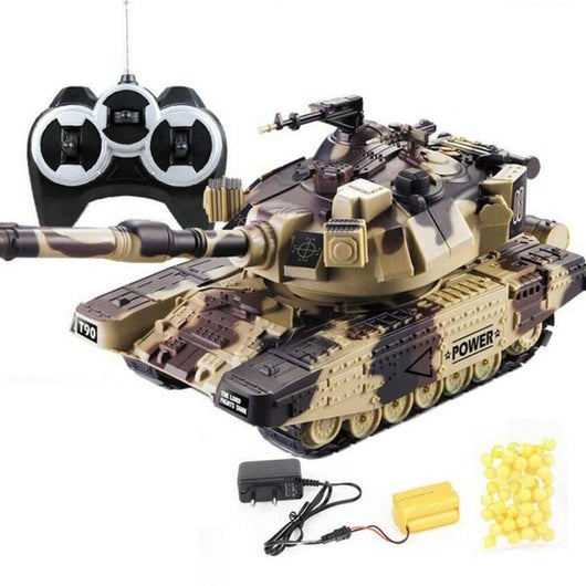 1:32 Military War RC Battle Tank Heavy Large Interactive Remote Control Toy Car with Shoot Bullets Model Electronic Boy Toys-1967 Children's Toys-Yellow EU plug-Oddity Odyssey