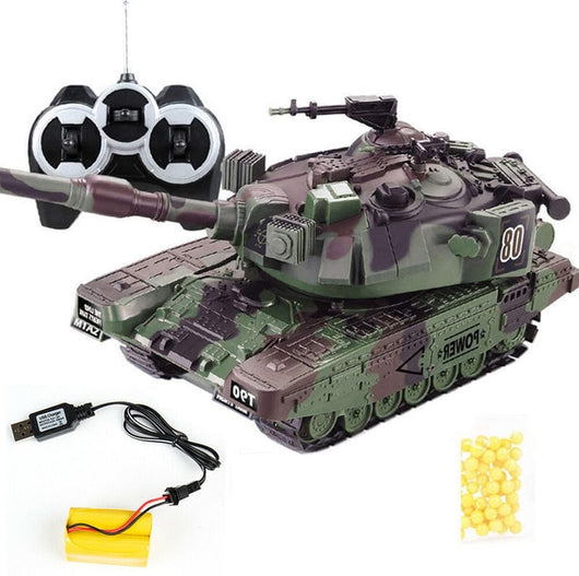 1:32 Military War RC Battle Tank Heavy Large Interactive Remote Control Toy Car with Shoot Bullets Model Electronic Boy Toys-1967 Children's Toys-Green USB plug-Oddity Odyssey