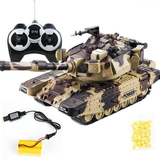 1:32 Military War RC Battle Tank Heavy Large Interactive Remote Control Toy Car with Shoot Bullets Model Electronic Boy Toys-1967 Children's Toys-Yellow USB plug-Oddity Odyssey