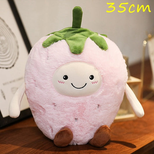 Kawaii Facial Expression Fruits Plush Pillow Soft Stuffed Eggplant Mango Strawberry Pear Doll Chili Poached Egg Cushion Toy Gift-Children's Toys-2-Oddity Odyssey