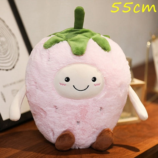 Kawaii Facial Expression Fruits Plush Pillow Soft Stuffed Eggplant Mango Strawberry Pear Doll Chili Poached Egg Cushion Toy Gift-Children's Toys-14-Oddity Odyssey