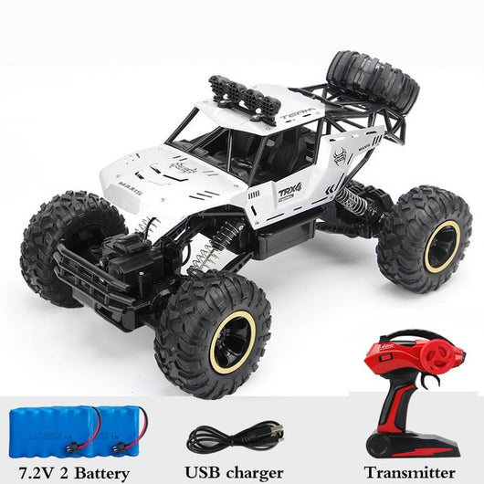 1:12 4WD RC Car Updated Version 2.4G Radio Control RC Car Toys remote control car Trucks Off-Road Trucks boys Toys for Children-Children's Toys-37cm Silver 2Battery-Russian Federation-Oddity Odyssey