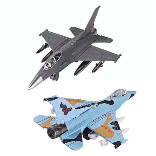Diecast Alloy Airplane Model Toys Metal Pull-Back Aircraft Toys Airplane USA Force F16 Model Kit Gift Set for Kids Boy Birthday-Children's Toys-CHINA-Sky Blue-Oddity Odyssey