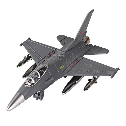 Diecast Alloy Airplane Model Toys Metal Pull-Back Aircraft Toys Airplane USA Force F16 Model Kit Gift Set for Kids Boy Birthday-Children's Toys-CHINA-Gray-Oddity Odyssey