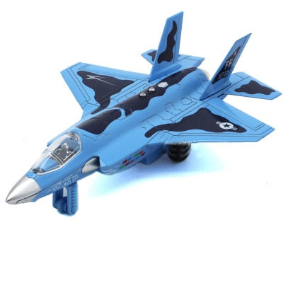 Diecast Alloy Airplane Model Toys Metal Pull-Back Aircraft Toys Airplane USA Force F16 Model Kit Gift Set for Kids Boy Birthday-Children's Toys-CHINA-Blue-Oddity Odyssey