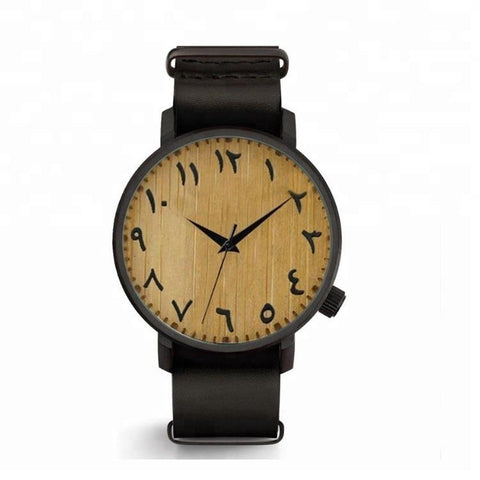 AHB Trends- Wooden Arabic Numerals Watch