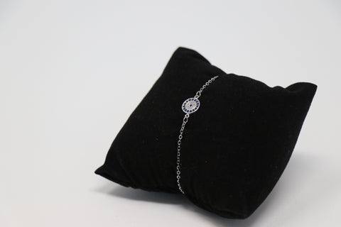 Small Silver Blue Eye Bracelet
