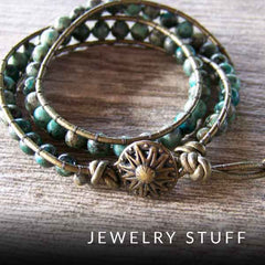Jewelry stuff blog category with image of Olivia double wrap bracelet with African turquoise