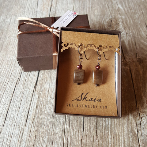 Nicole Rustic Peanut Jasper Earrings