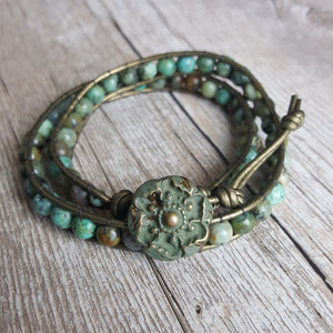 Olivia Double Wrap Leather Bracelet with African Turquoise - Sacred Skaia