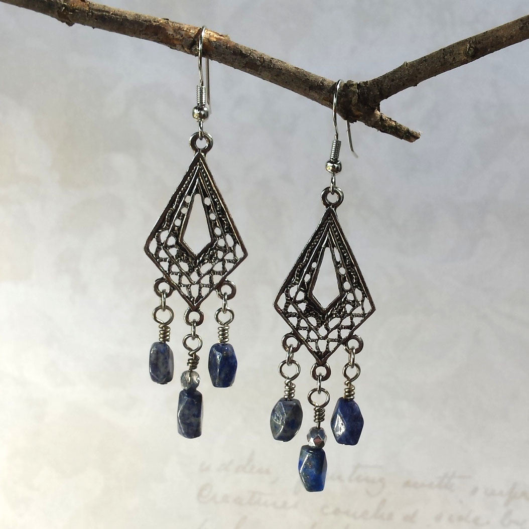 Lapis Lazuli Boho Chic Earrings - Sacred Skaia