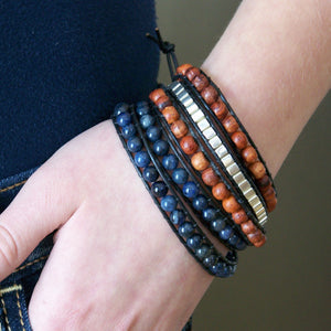 Olivia Double Wrap Leather Bracelet with Dumortierite - Sacred Skaia