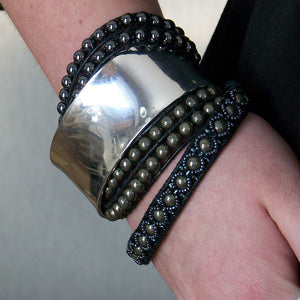 Olivia Double Wrap Leather Bracelet with Pyrite - Sacred Skaia