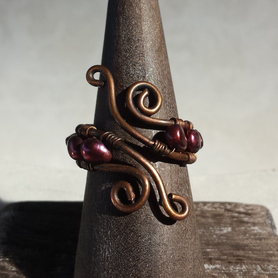 Maida Copper and Pearl Ring