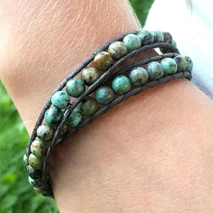 Olivia Double Wrap Leather Bracelet with African Turquoise