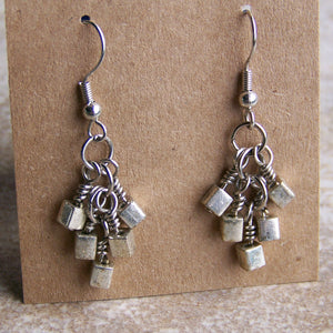Picasso Silver Cube Earrings - Sacred Skaia