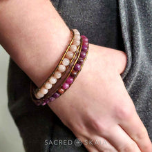 Serenity Double Wrap Bracelet with Sunstone and Lepidolite