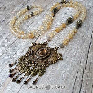 Citrine, pyrite and labradorite are the abundance manifesting crystals used in the Abundant Success Mala from Sacred Skaia.