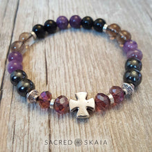 Crystal stretch bracelet in custom sizes for supporting your intention to be free from addiction, made with amethyst, hematite, smoky quartz, black obsidian, lepidolite and rosewood. Includes a silver cross accent and silver spacers.