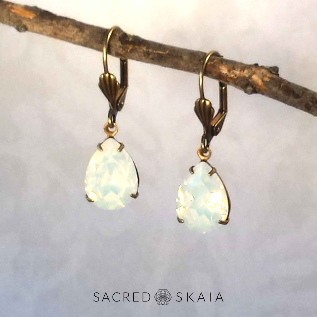 Aphrodite Crystal Teardrop Earrings in White Opal - Sacred Skaia