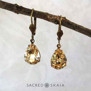 Aphrodite Crystal Teardrop Earrings in Olivine - Sacred Skaia