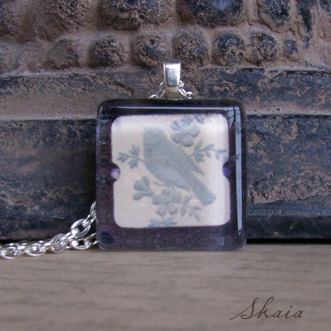 Blue Bird in Frame Necklace - Sacred Skaia