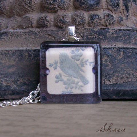 Blue Bird in Frame Necklace