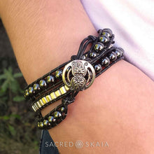 Emma Triple Wrap Leather Bracelet with Hematite and Silver